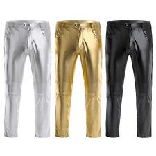 Men's Night Club Metallic Long Pants Skinny Straight Leggings Trousers Clubwear