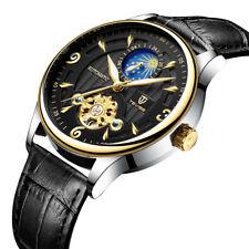 Luxury Tourbillon Automatic Mechanical Mens Wrist Watches Moon Phase Wristwatch