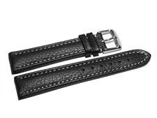 Uhrenband - Leder - gepolstert - genarbt - schwarz - weiße Naht - 18,20,22,24 mm