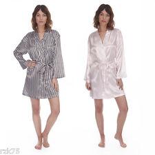 Womans Sexy Satin Stripe Kimono Wrap Short Dressing Gown Bath Robe Nightwear New
