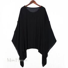 UK Womens Lagenlook Plus Size Semi Sheer Chiffon Top Tunic Shirt Cover Up Kaftan