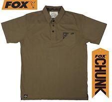 Fox Chunk Stonewash Polo Khaki, Baumwoll Poloshirt mit Brusttasche Angelshirt