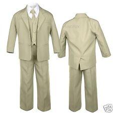 Khaki Beige Taupe Baby Toddler Boy Formal Tuxedo Vest Set Suit New Born - 18 yrs
