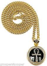 "Ankh Iced Out Pendant Necklace 36"" Cuban 6mm Chain Medusa Egyptian Spirit Cross"