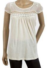 Ladies Ivory Camaieu Mesh Yoke Top With Lace Detail - Sizes S/M/XL