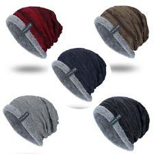 Men's Hat Winter Ribbed Beanie Cap Work Warm Soft Knit Striped Slouchy Toboggan