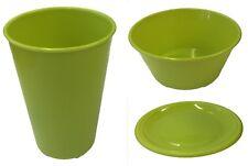 Set of 4 Plastic Plates Bowls Tumblers Wont break Picnic Camping Tableware Green