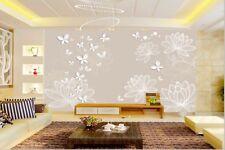 3D Weiße Blumen 3787  Fototapeten Wandbild Fototapete BildTapete FamilieDE