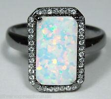 White Fire Opal & White Topaz 925 Sterling Silver Black Rhodium Ring size 6 - 9