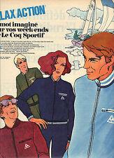 PUBLICITE 1968   LE COQ SPORTIF   relax action équipement sport