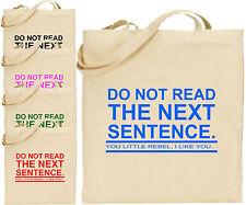 Non letto prossima frase Rebel grandi cotone TOTE shopping bag Divertente Regalo di Natale