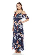 Roman Originals Womens Blue Floral Cold Shoulder Chiffon Maxi Dress Sizes 10-20