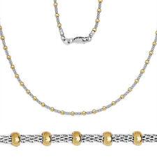 Men/Women's Stylish Italian 925 Silver 14K YG Mesh Round Bead Link Chain