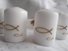 Set 4 ,6 Kerzen Tischdeko,Taufe Kommunion ,Goldene Fische