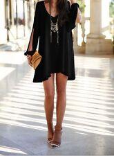 Women's black hi-low cocktail dress cold shoulder asymmetric tunic top NWT