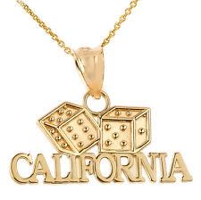 Fine 14k Yellow Gold CALIFORNIA Dice Pendant Necklace Gamble Casino Gambling