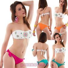 Bikini donna costume da bagno mare fascia floreale due pezzi nuovo SE445