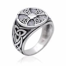 925 Sterling Silver Celtic Irish Knot Knights Templar Iron Cross Triquetra Ring