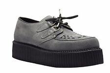 Scarpe di terra in acciaio grigio scamosciato Creepers alta suola D Anello casual rock Sc300Z134
