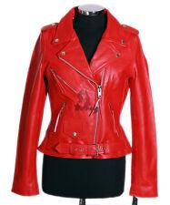 Ladies BRANDO RED Cowhide Biker Style Motorcycle Motorbike Real Leather Jacket