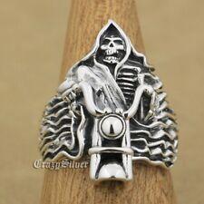 925 Sterling Silver Fire Motorcycle Skull Mens Biker Gothic Ring 9W026B UK P½~Z1