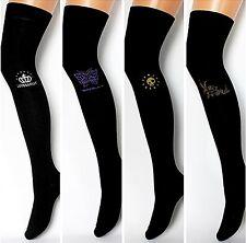 Overknees Strümpfe Overknee warm Baumwolle Damen Socken Überknie schwarz Muster