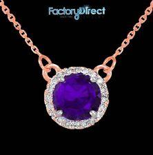 14k Rose Gold Diamond Amethyst February Necklace