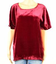 Lucky Brand Womens Red Black Velvet Zip-Up Back Short Sleeve T-Shirt Top L