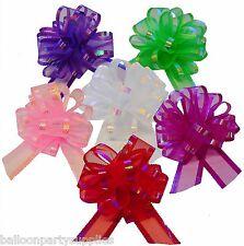 10 Organza Fabric Pull Bows Wedding Car Pew Decoration Craft 6 Colours FreePost