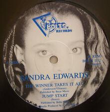 "SANDRA EDWARDS ~ The Winner Takes It All / Jump Start ~ 12"" Single"