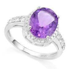 Damen Ring Natascha, 925er Silber 3,38 Kt. echter Amethyst/Weißer Saphir/Diamant