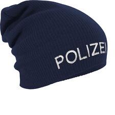 Slouch Long Beanie Winterbeanie Muetze mit Stickmotiv Polizei 55602 marine