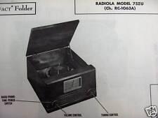 ( RCA ) RADIOLA 75ZU PHONOGRAPH RADIO PHOTOFACT