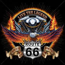 Live The Legend World Class Route 66 Eagle Chopper Motorcycle Biker T-Shirt Tee