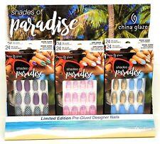 China Glaze Pre-Glued Designer Nails -Shades of Paradise 28ct/14size Ltd Edition