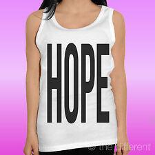 "CANOTTA T-SHIRT DONNA "" SCRITTA HOPE NERA ""IDEA REGALO ROAD TO HAPPINESS"
