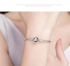 925 Silver Starter snake chain Bracelet Poetic Bloom Daisy Clasp 4European Charm