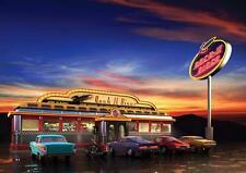 American Diner Affiche Rétro Chevy Décoration Murale Imprimé Photo A3 A4