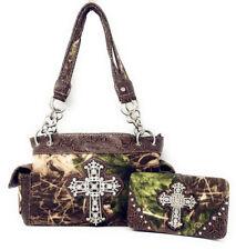 Western Camo Cross Shoulder Camouflage Handbag Rhinestone Purse/ Matching Wallet