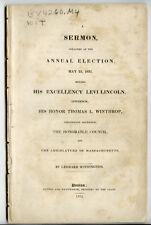 Sermon Annual Election 1831 Levi Lincoln Gov Massachusetts Leonard Withington