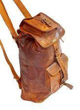 """21"""" Men's Leather Backpack Bag Rucksack Messenger Laptop Satchel Genuine Vintage"""