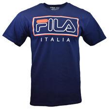 FILA Men's T-shirt - Athletic Sports Apparel - Fila Frame - ITALIA -NAVY BLUE