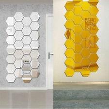 12PCS Set DIY 3D Mirror Hexagon Wall Stickers Vinyl Removable Home Room Decor US