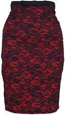 Tess 2-tone LACE Pin Up Spitzen Pencil Rot Vintage Skirt / ROCK Rockabilly