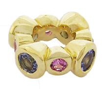 Bd072 Genuine 9K Yellow,White, Rose Gold Natural Pink Sapphire & Tanzanite Bead