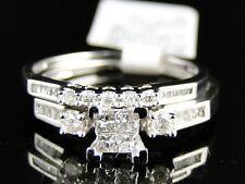 Women's Ladies White Gold Princess Cut Real Diamond Bridal Engagement Ring Set
