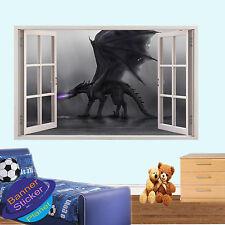 BLACK DRAGON FANTASY 3D WINDOW WALL ART STICKER ROOM DECORATION DECAL MURAL