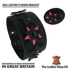 New Press Stud Flower Rivet Studded Design Leather Wristband Made In UK Bracelet