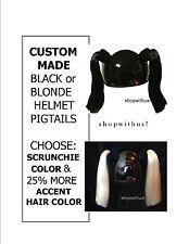 Custom Made Black or Blonde Helmet Pigtails ~Motorcycle Skate Bike 25% More Hair