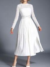 Elegante vestito abito lungo colorato gipsy bianco slim maniche lunghe slim 3912